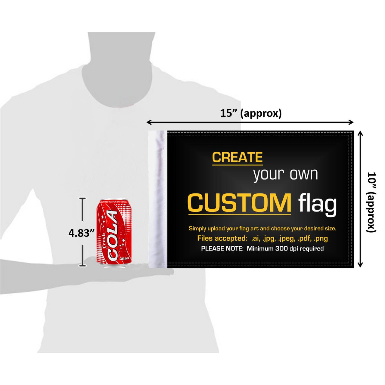"6""x9"" Custom parade flag (size comparison view)"