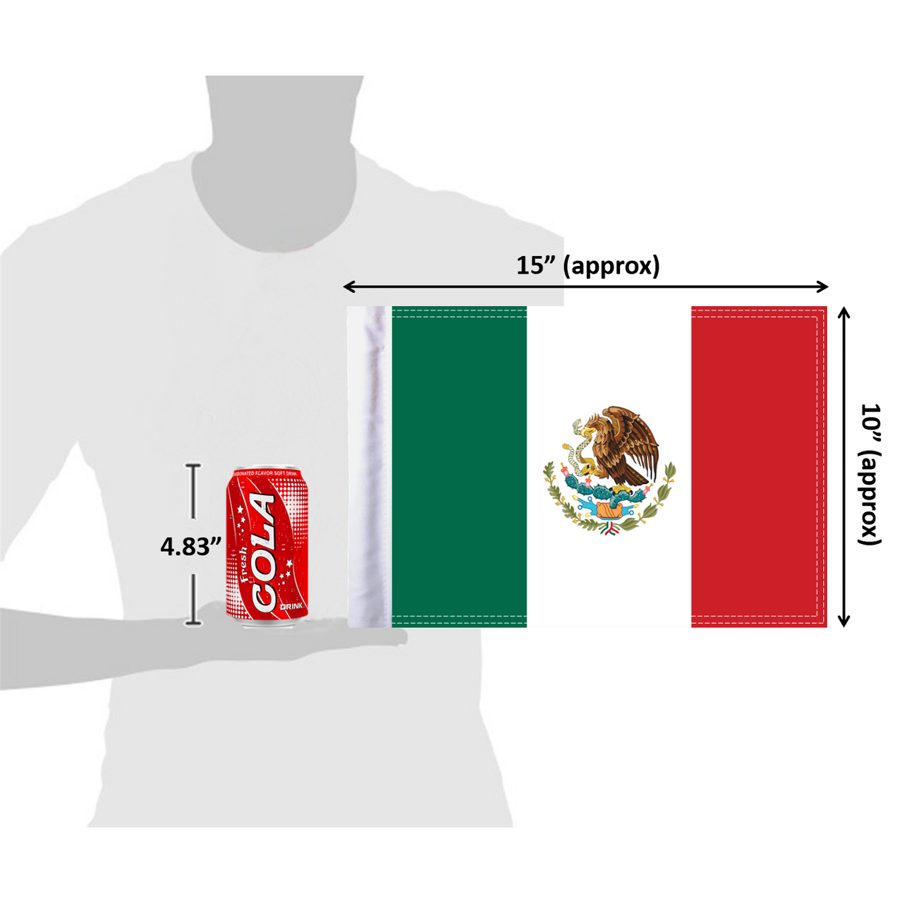 """10""""x15"""" Mexico flag (size comparison view)"""