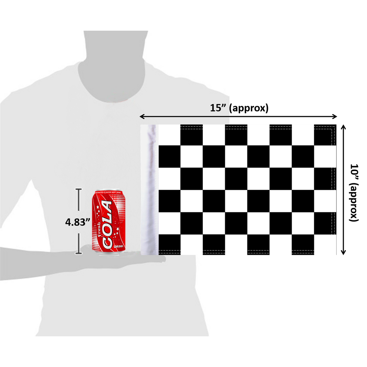 "10""x15"" Checkered flag (size comparison view)"