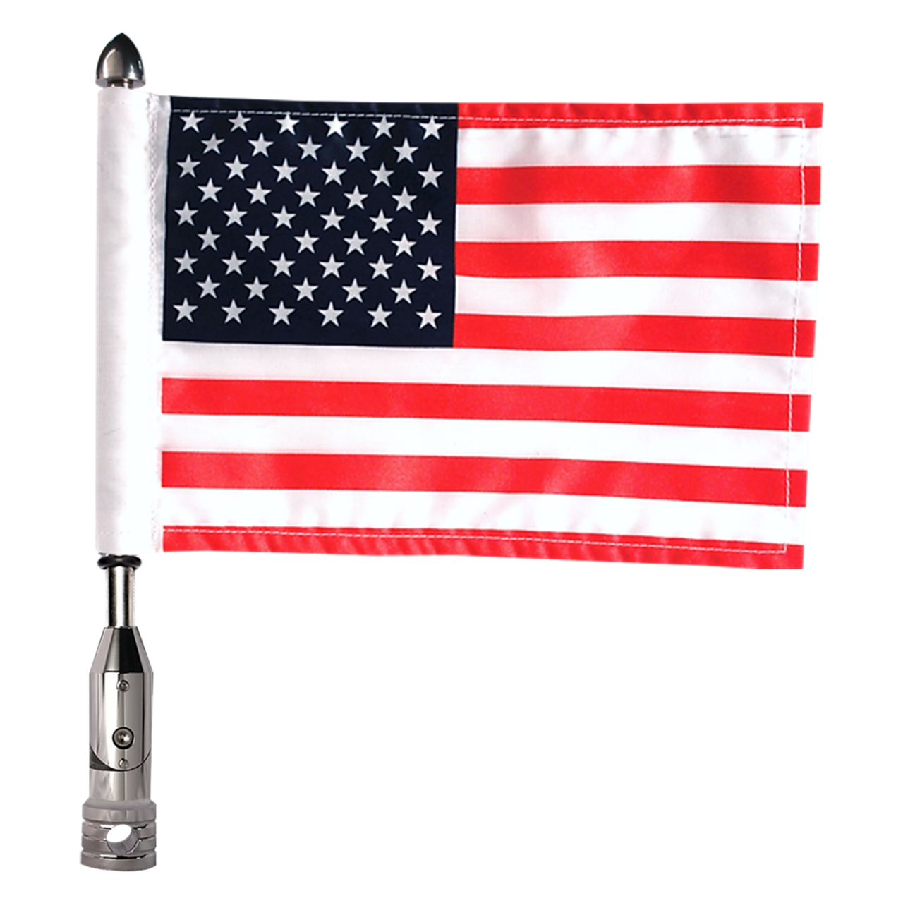 "#RFM-FLD with 9"" pole, standard cone topper and 6""x9"" USA flag"