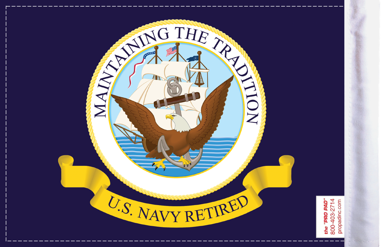FLG-RTNAV  Navy RETIRED 6x9 flag (BACK)