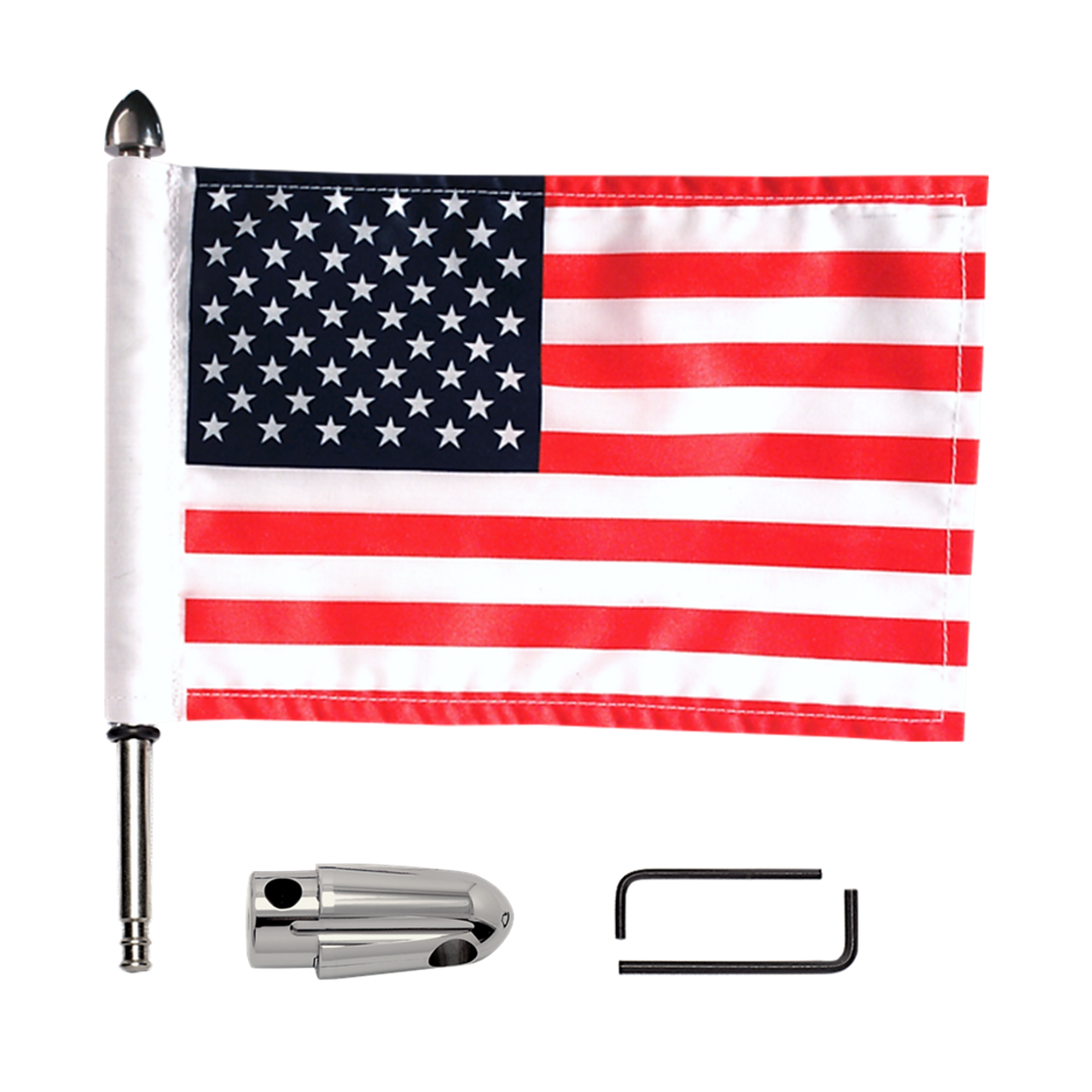 """#RFM-RDHB51IN  .51"""" Indian rack flag mount with 9"""" pole, standard cone topper and 6""""x9"""" USA flag (components)"""
