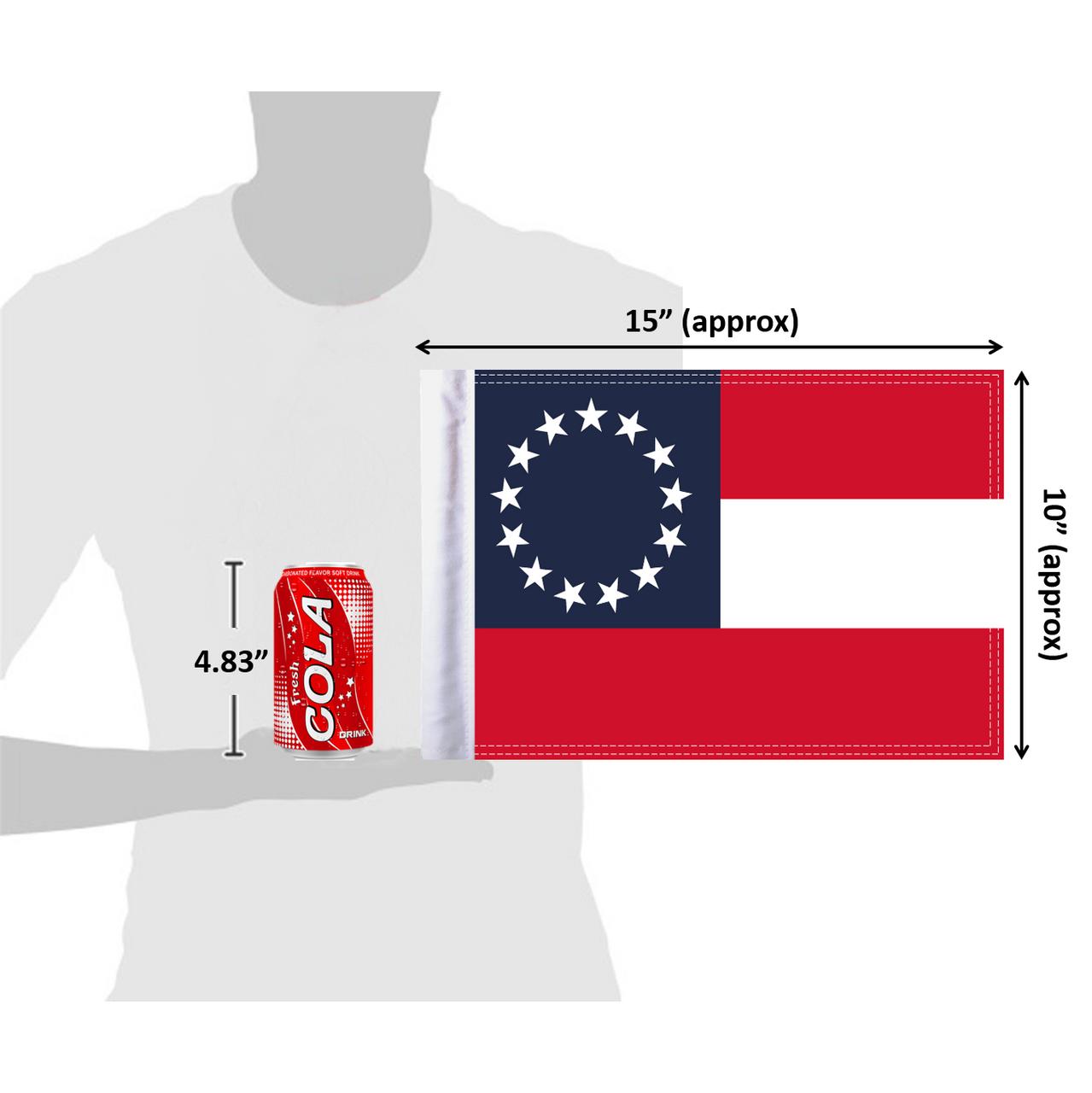 "10""x15"" Confederate Stars and Bars flag (size comparison view)"