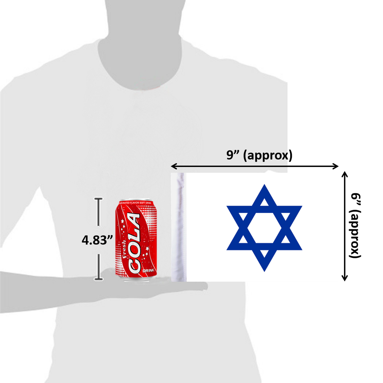 "6""x9"" Star of David flag (size comparison view)"