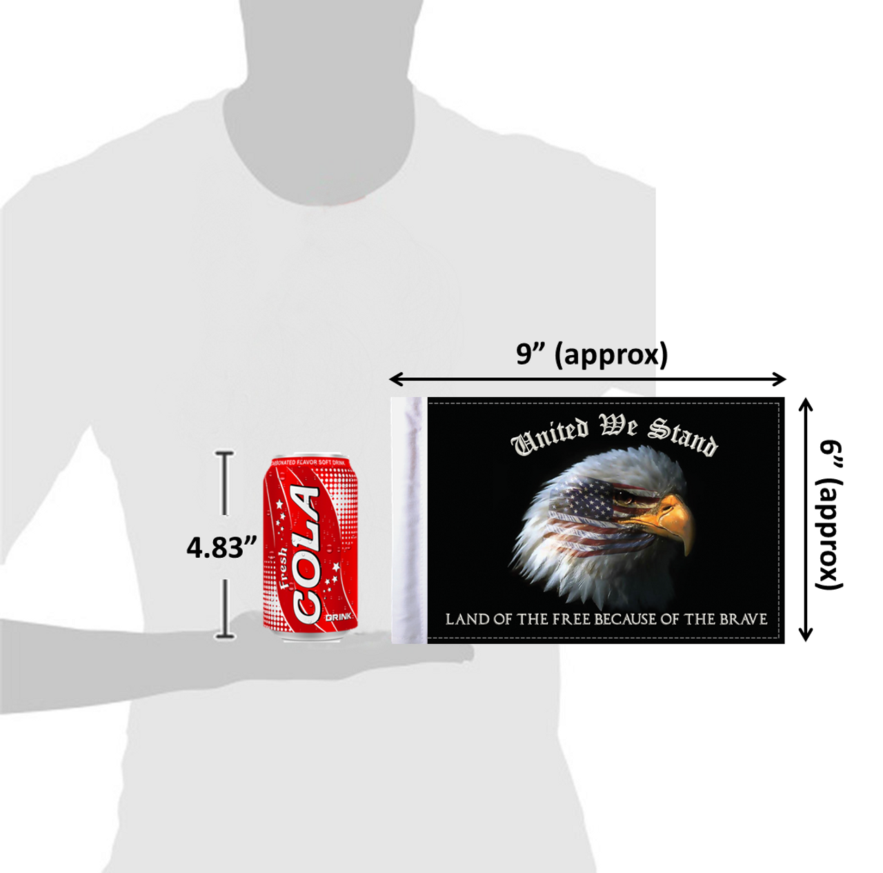 """6""""x9"""" United We Stand flag (size comparison view)"""