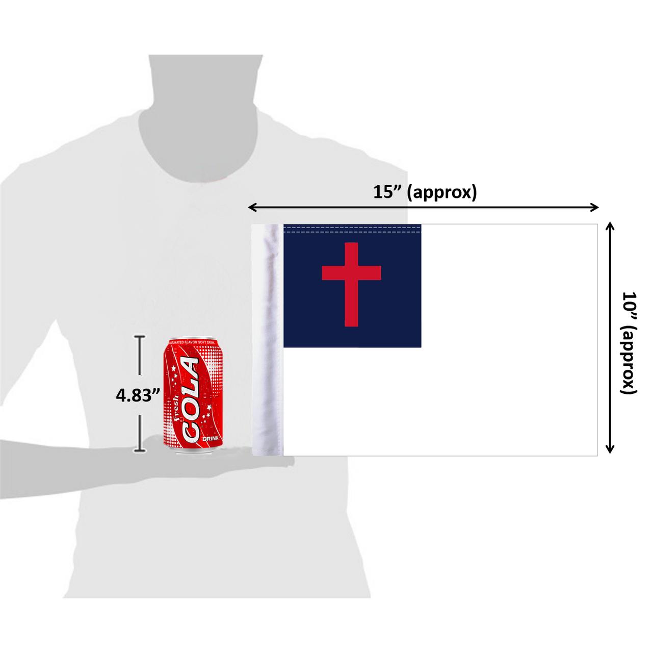 """10""""x15"""" Christian flag (size comparison view)"""