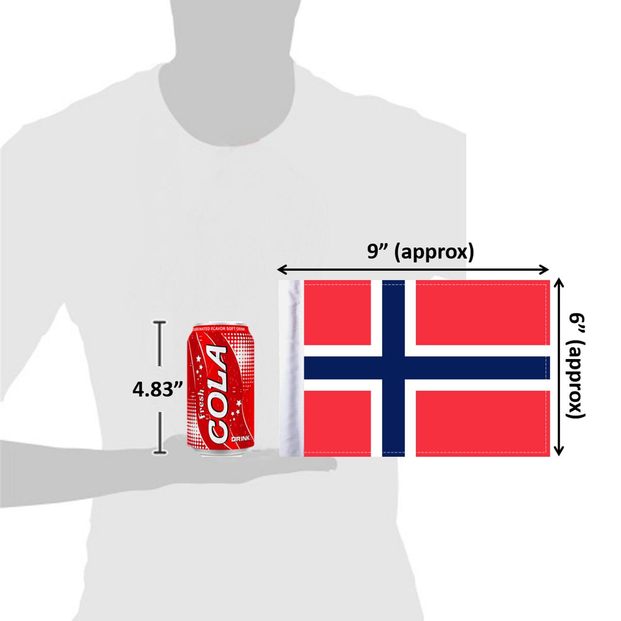 "6""x9"" Norway flag (size comparison view)"