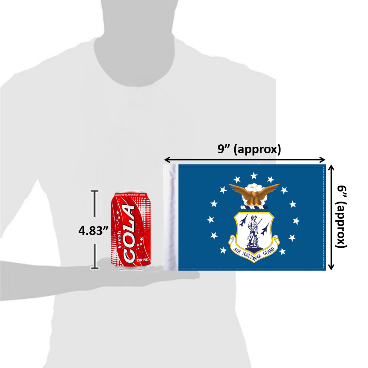 "6""x9"" Air National Guard flag (size comparison view)"