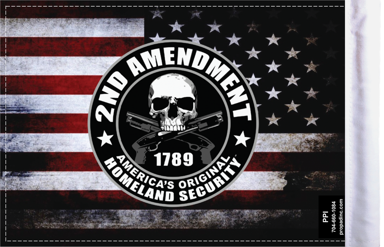 FLG-HS2AMND Homeland Security Second Amendment flag 6x9 (BACK)