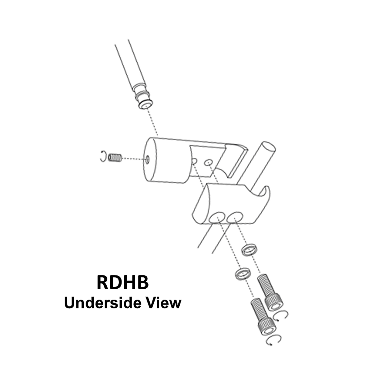 RDHB installation diagram (exploded view); shown from underside