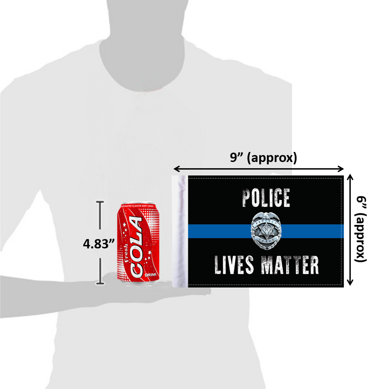 "6""x9"" Police Lives Matter flag (size comparison view)"