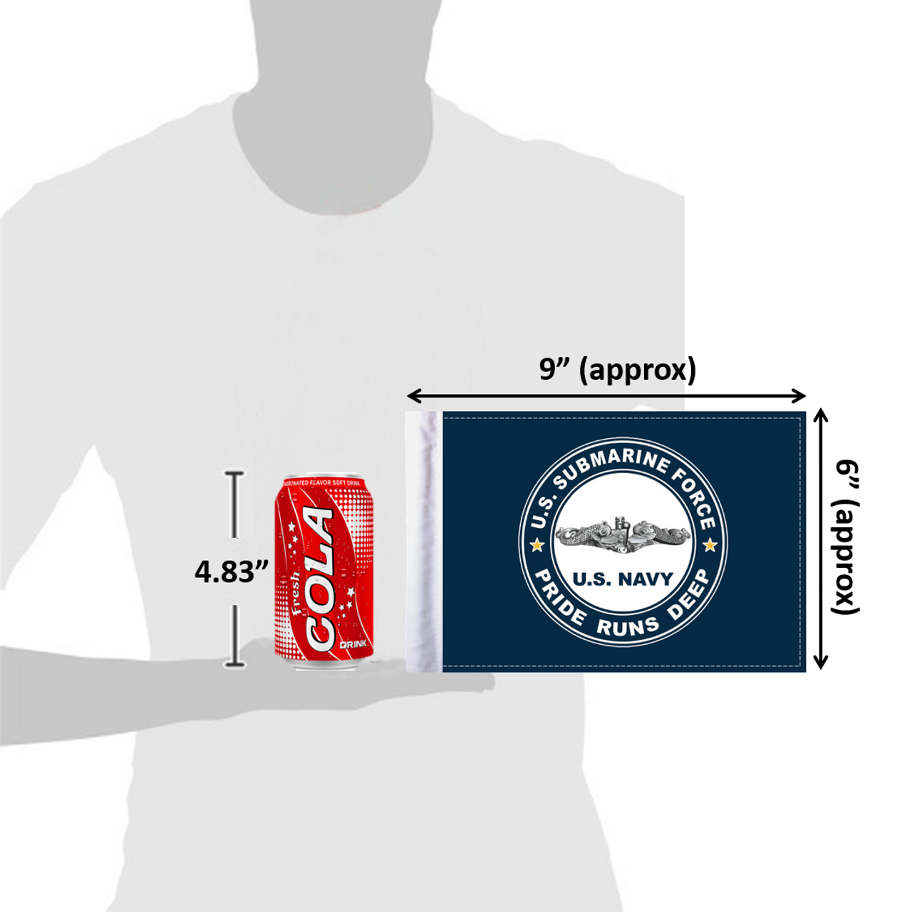 "6""x9"" U.S. Navy Submarine flag (size comparison view)"