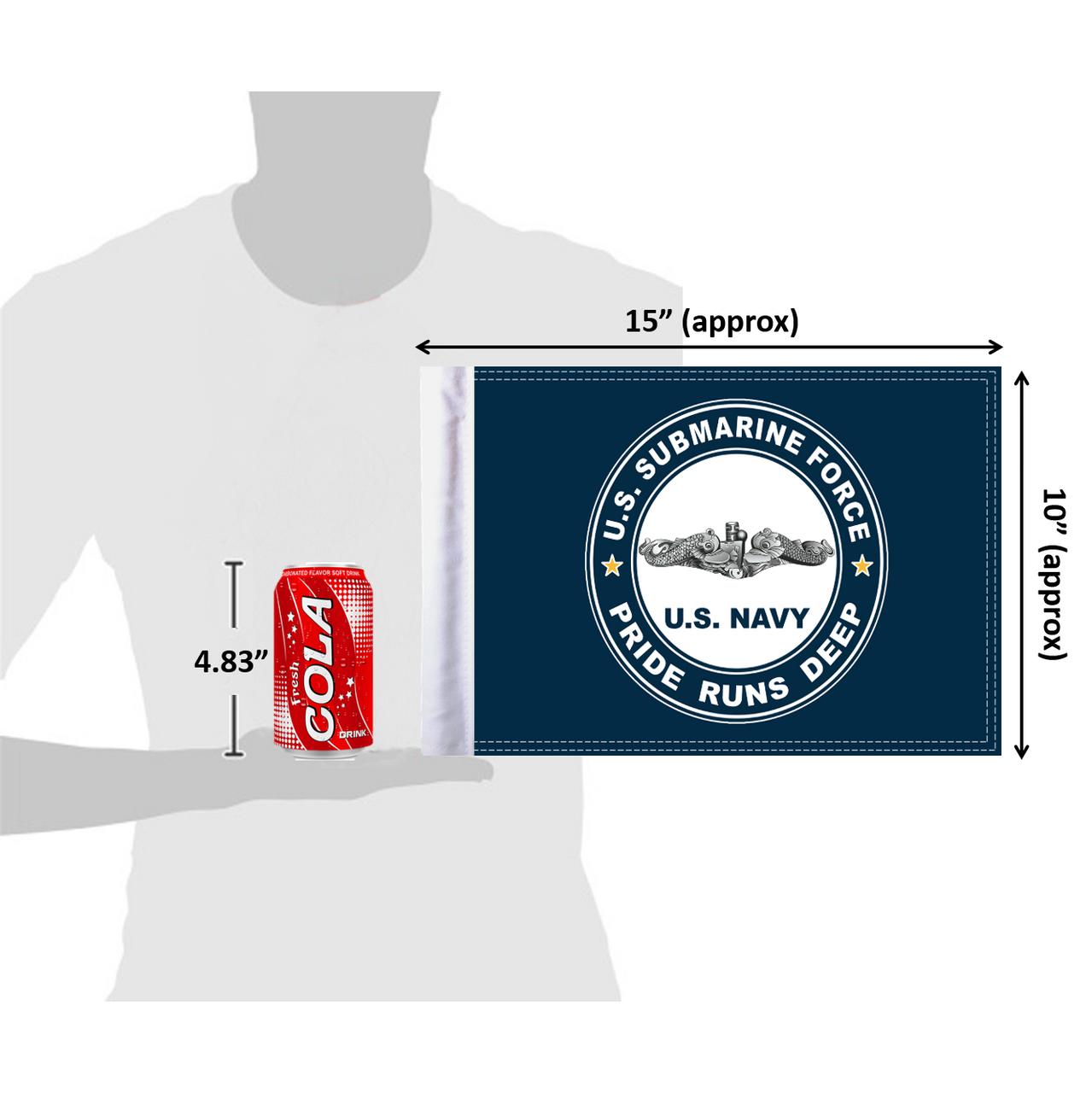 "10""x15"" U.S. Navy Submarine flag (size comparison view)"
