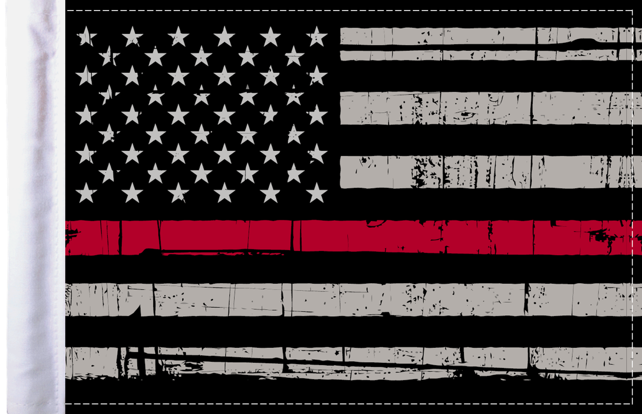 Red Line American Flag >> Grunge Usa Firefighter Thin Red Line Motorcycle Flag