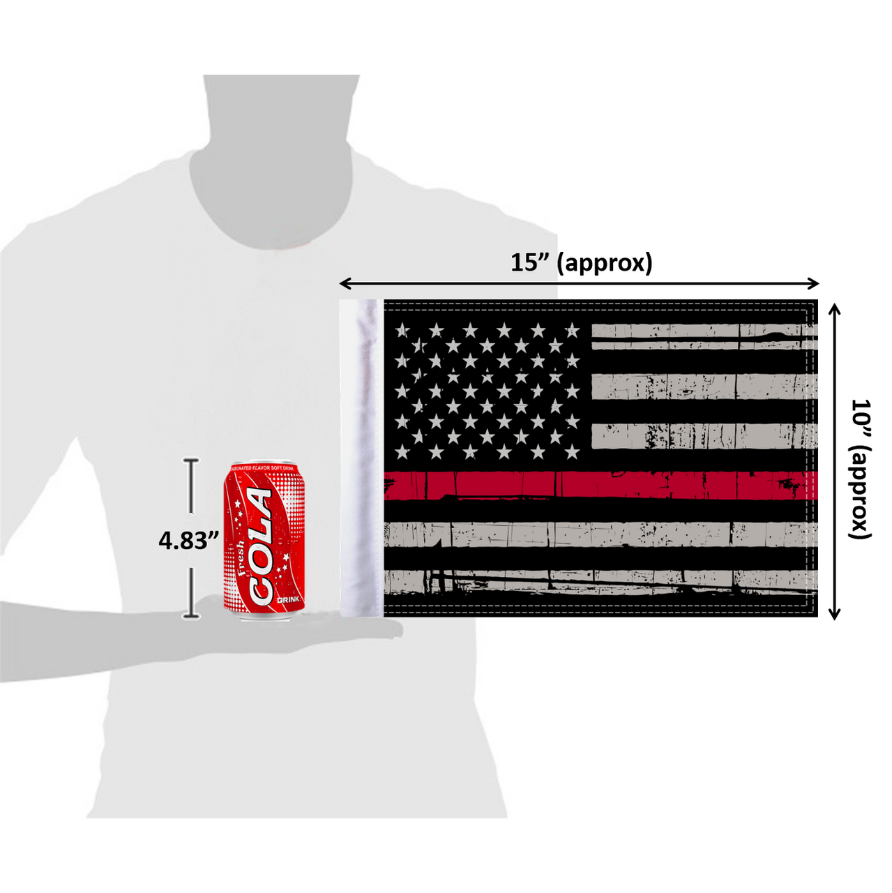 """10""""x15"""" Grunge Red Line flag (size comparison view)"""