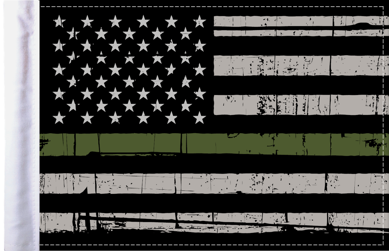 FLG-GMGL  Grunge US Military Green Line 6x9 flag