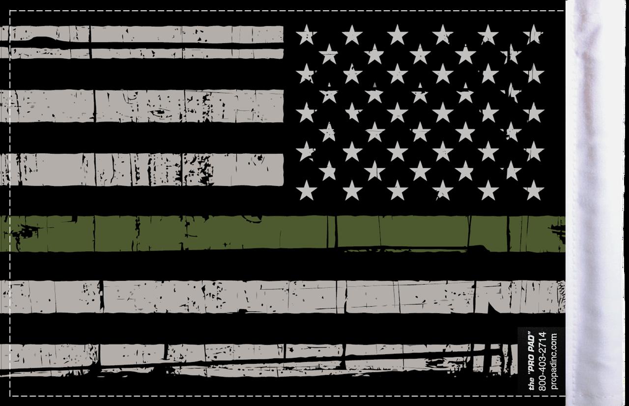 FLG-GMGL  Grunge US Military Green Line 6x9 flag (BACK)