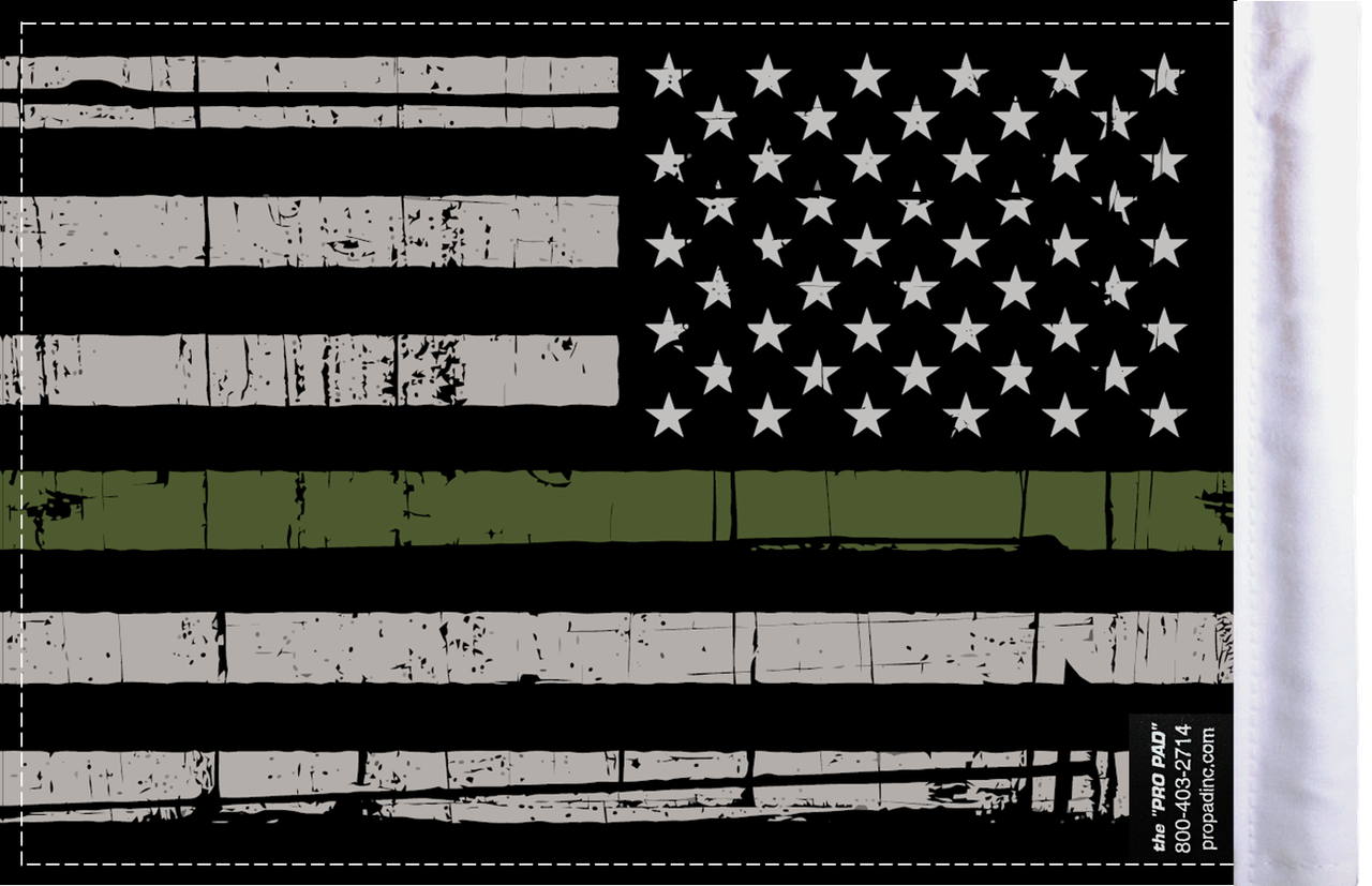 FLG-GMGL  Grunge US Military Green Line 6x9 flag (BACK)