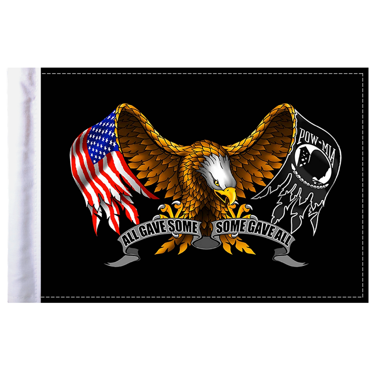 "6""x9"" Highway flag:  Some Gave All - Eagle"