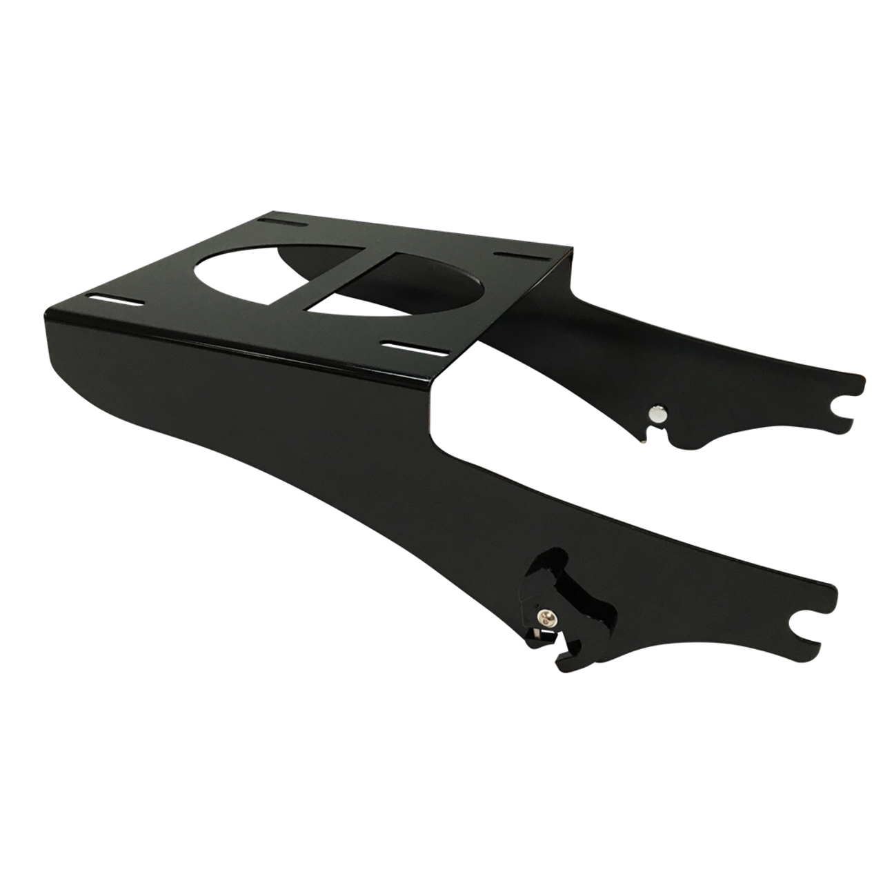 Black Tour Pack Rack: Fits 1997 to 2008 Harley Touring bikes with FRONT 4-point docking station