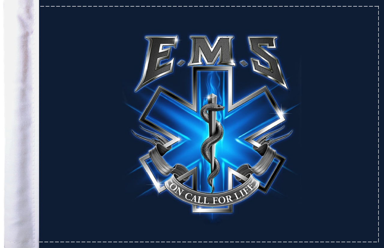 FLG-EMSOC  EMS On Call for Life 6x9 flag