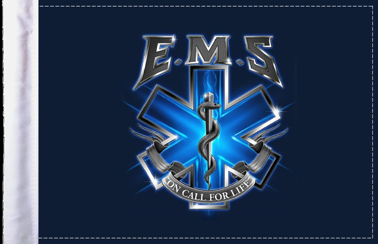 FLG-EMSOC  EMS On Call for Life 6x9 flag