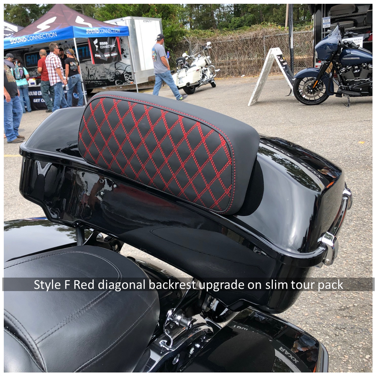 Style F Red diagonal backrest upgrade on Slim Tour Pack