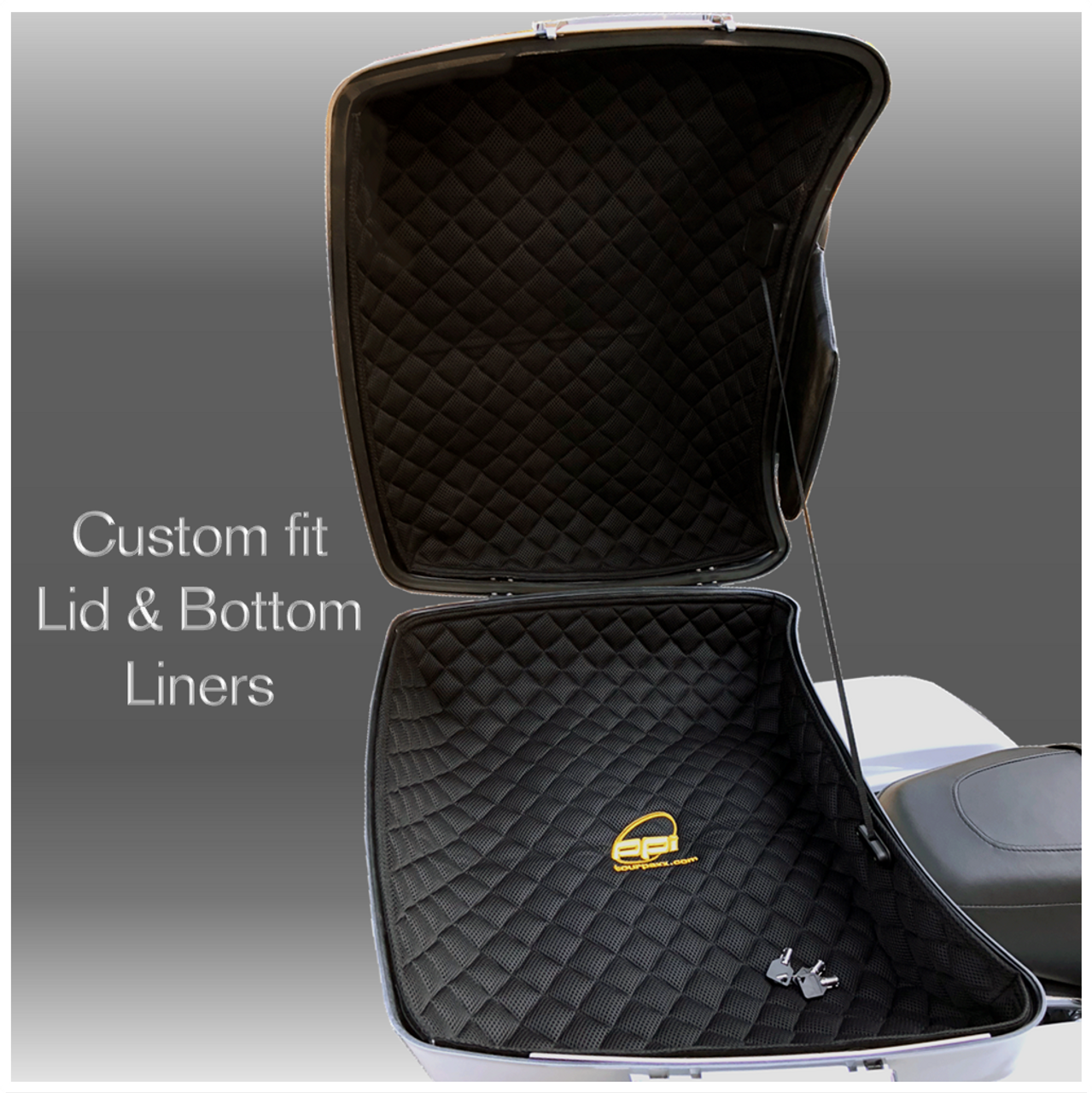 Quilted Fabric Slim Tour Pack Lid & Bottom liners (tour pack not included)