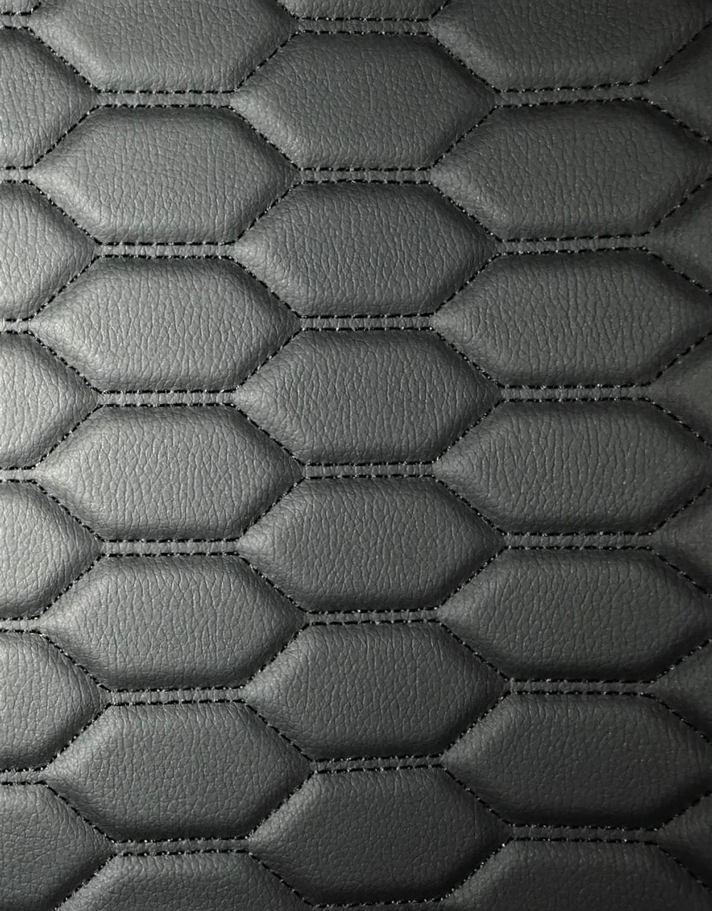Quilted automotive grade black vinyl with black stitching