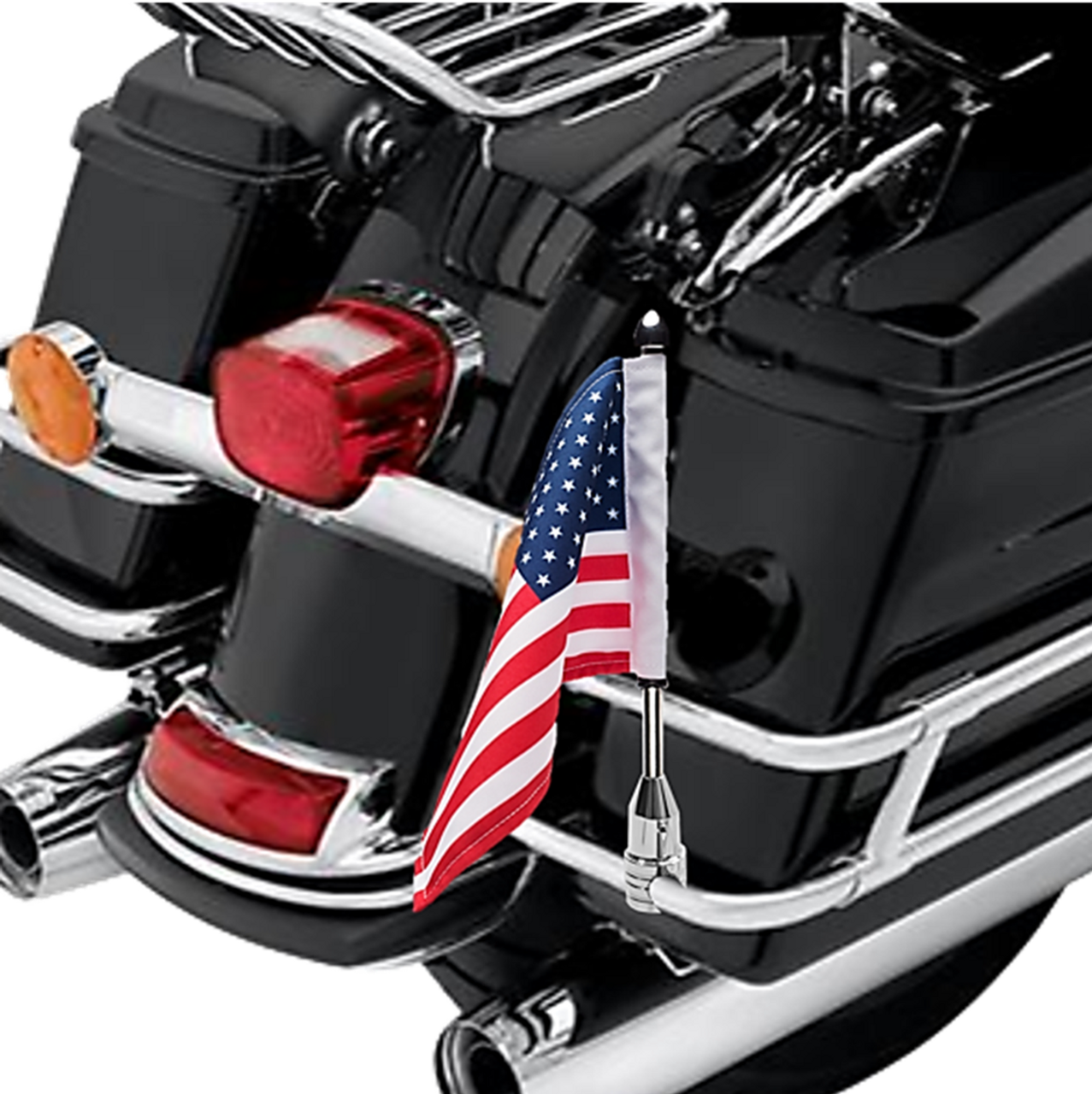 """3/4"""" Fixed, upright mount with 9"""" pole, standard cone topper and 6""""x9"""" USA flag on Harley saddlebag guard rail"""
