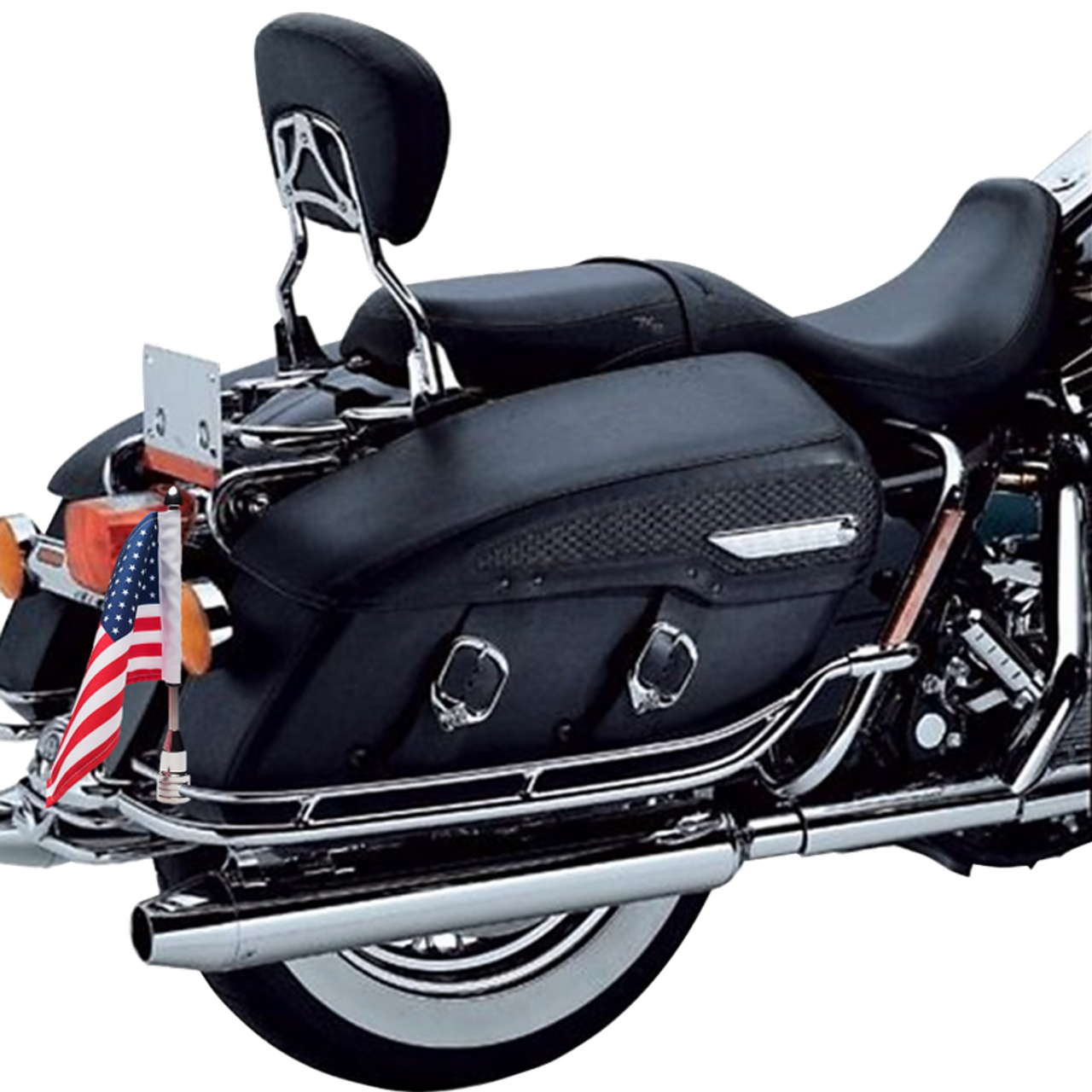"""3/8"""" Fixed, upright mount with 9"""" pole, standard cone topper and 6""""x9"""" USA flag on Harley Nostalgic saddlebag guard rail (upper bar)"""