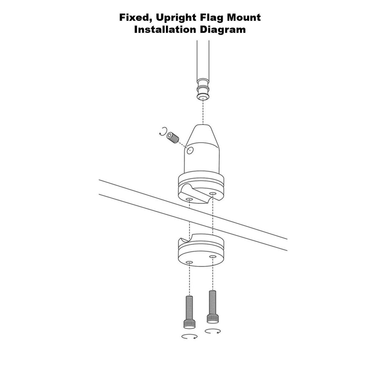 Fixed, upright mount installation diagram (exploded view)