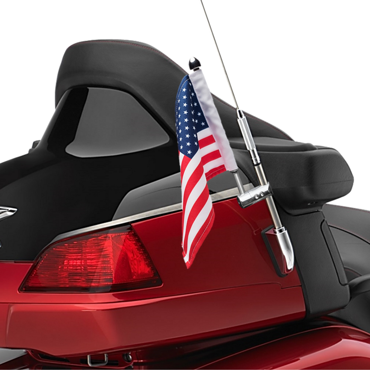 "Antenna flag mount with 9"" pole, standard cone topper and 6""x9"" USA flag on Honda Goldwing"