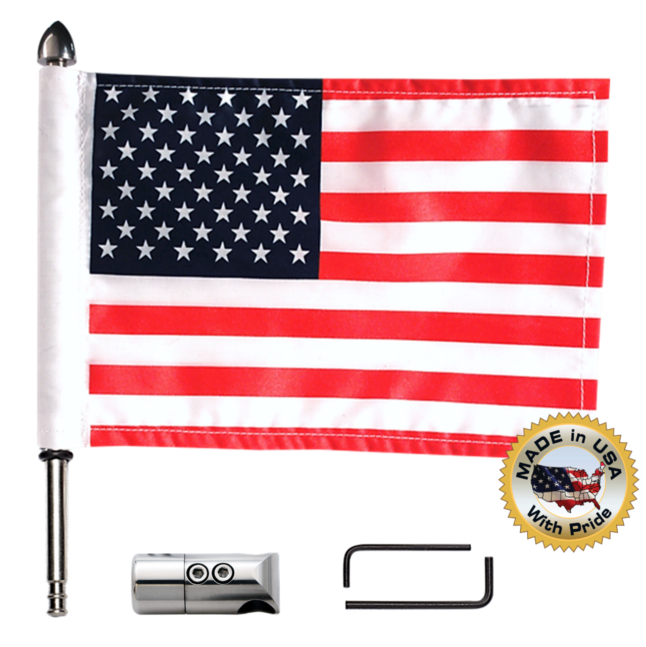 "Antenna flag mount with 9"" pole, standard cone topper & 6""x9"" highway flag (components)"