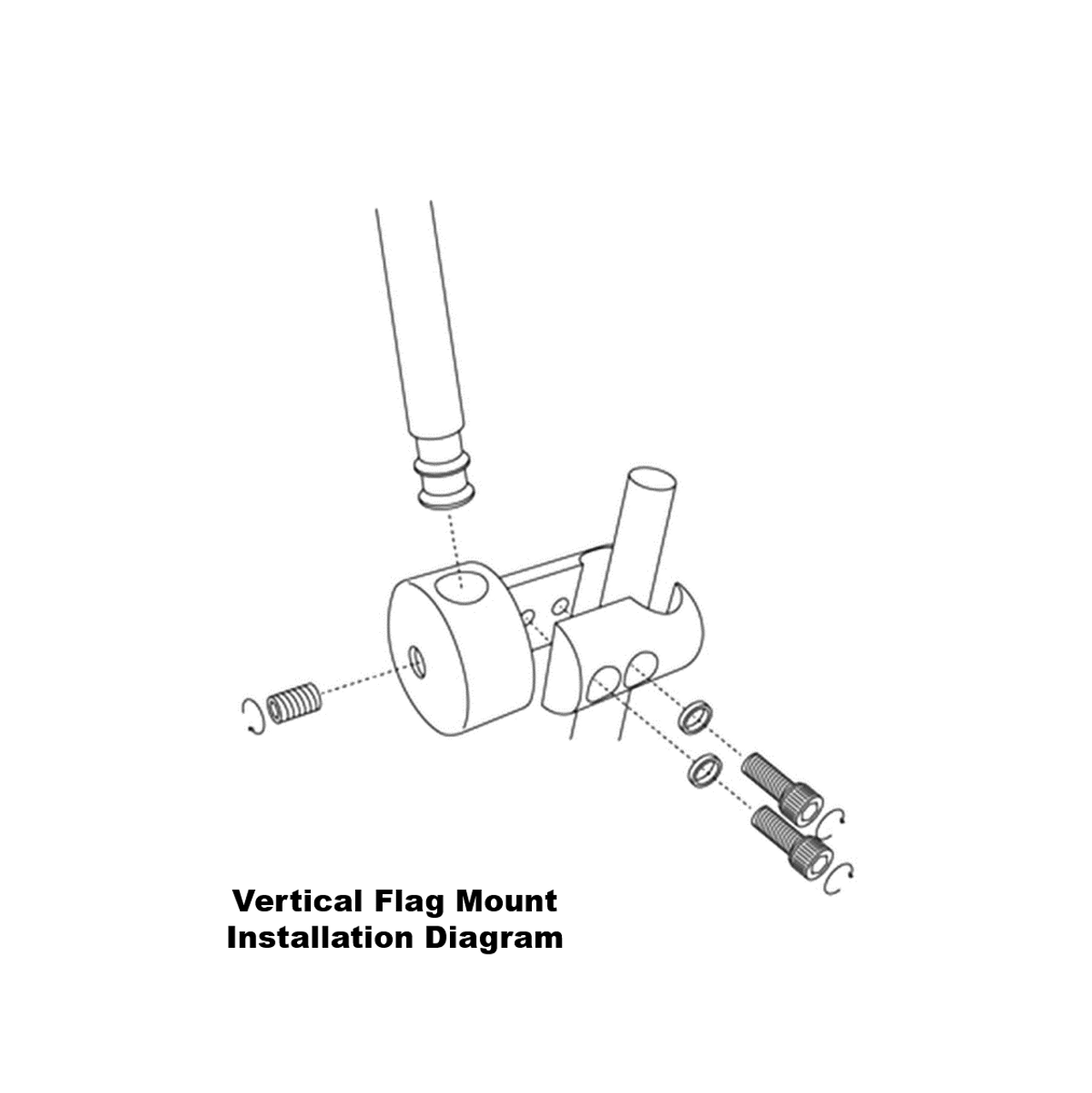 Vertical flag mount installation diagram (exploded view)
