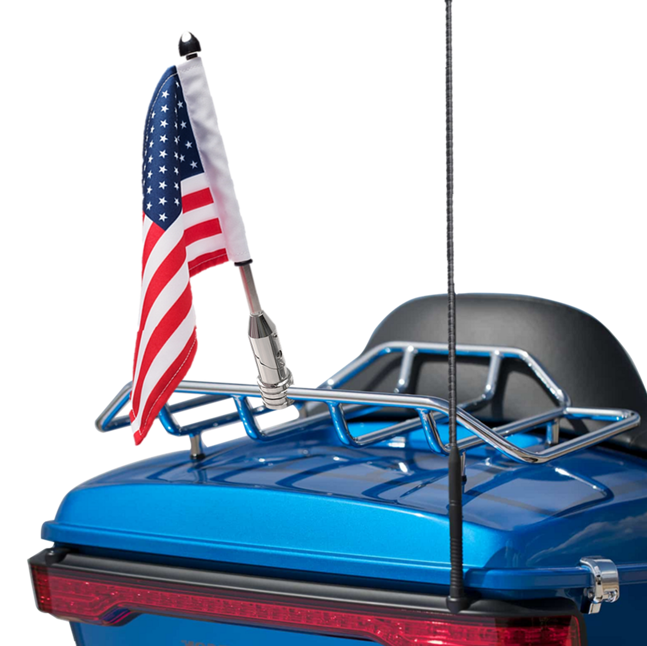 """Folding mount with 9"""" pole, standard cone topper and 6""""x9"""" USA flag on Harley Tour Pack Rack (rack not included)"""