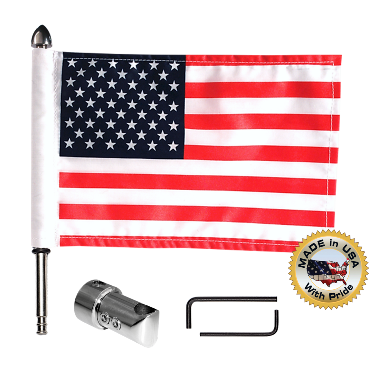 "5/8"" sissy bar flag mount with 9"" pole, standard cone topper & 6""x9"" highway flag (components)"