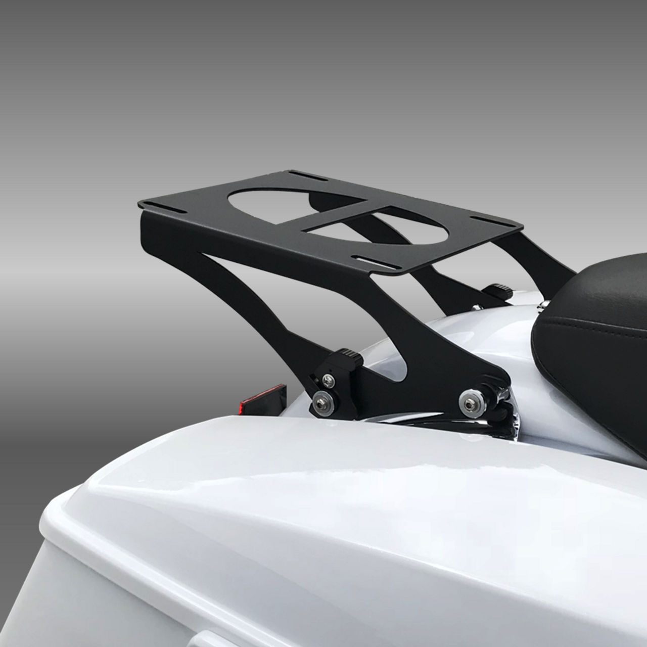 Black Tour Pack Rack:  Fits 2009+ Harley Touring bikes with 4-point docking station