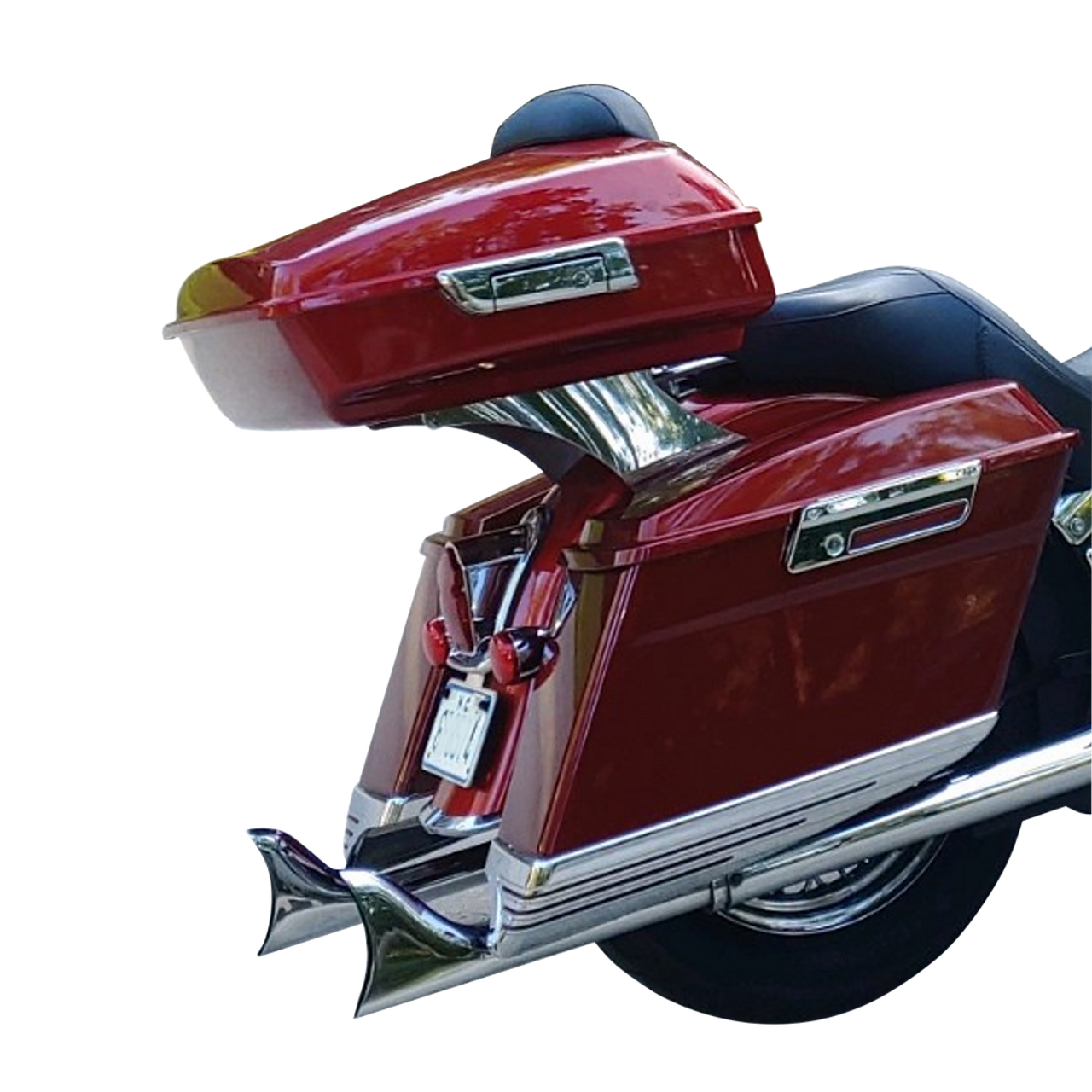 Harley Custom Color SLIM Tour Pack on polished stainless Softail Rack #RX-TRPSFTL-PS (latch view)