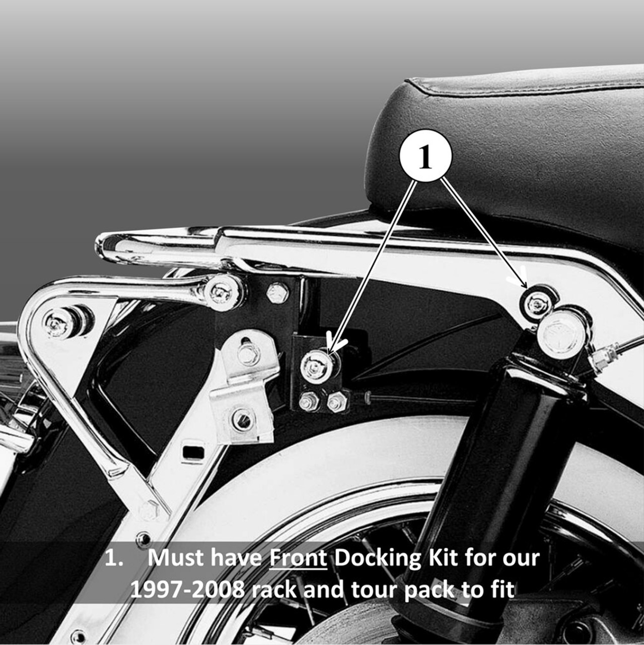 RX-9708SB-PS and RX-9708SB-B fit FRONT/FORWARD 4-point docking kit on Harley touring bikes; the 1997-2008 rack will not work if you don't have this kit on your bike