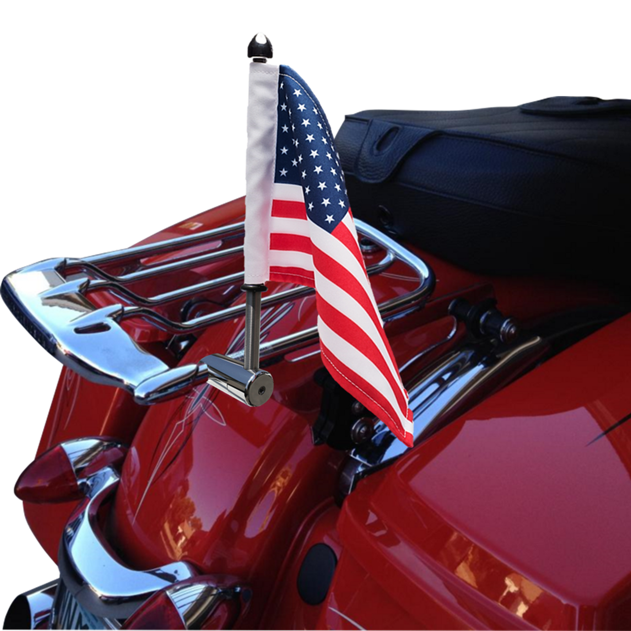 """Polished Stainless version:  1/2"""" Fixed, extended horizontal mount with 9"""" pole, standard cone topper and 6""""x9"""" USA flag on Harley detachable Air Wing rack (rack not included)"""