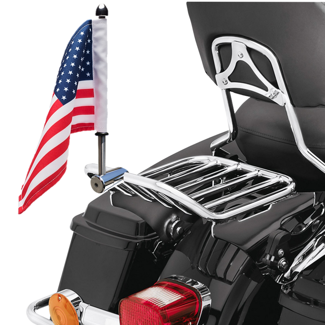 """Polished Stainless:  5/8"""" Fixed, extended horizontal mount with 9"""" pole, standard cone topper and 6""""x9"""" USA flag on HD detachable King 2-Up rack (rack not included)"""