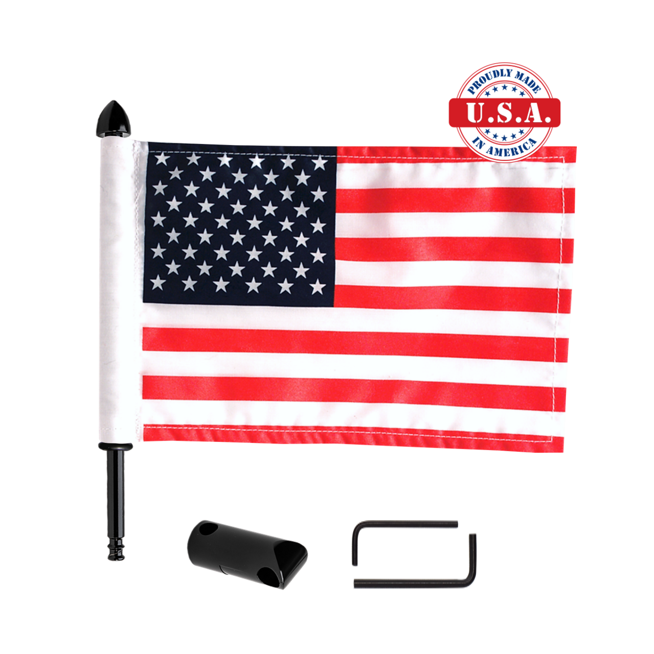 """Fixed, extended horizontal flag mount with 9"""" pole, standard cone topper & 6""""x9"""" highway flag"""