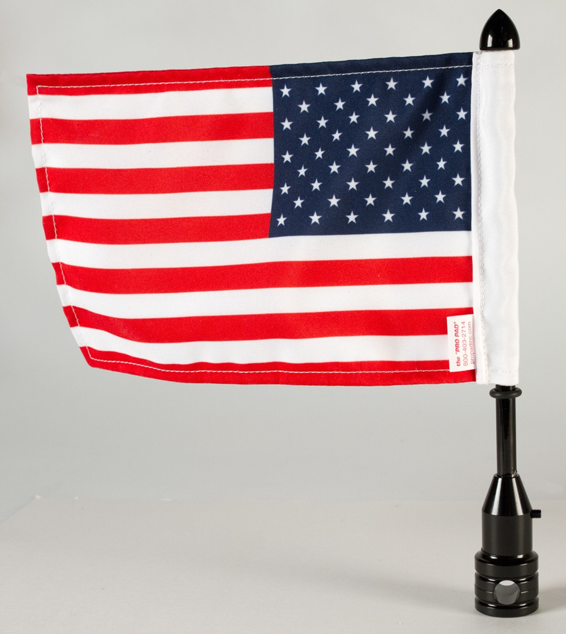 """Black Fixed, upright flag mount with 9"""" pole, standard cone topper & 6""""x9"""" highway flag (assembled)"""