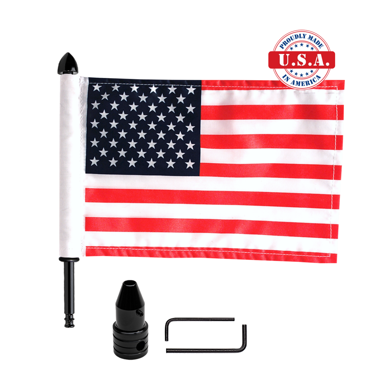 """Fixed, upright flag mount with 9"""" pole, standard cone topper & 6""""x9"""" highway flag"""
