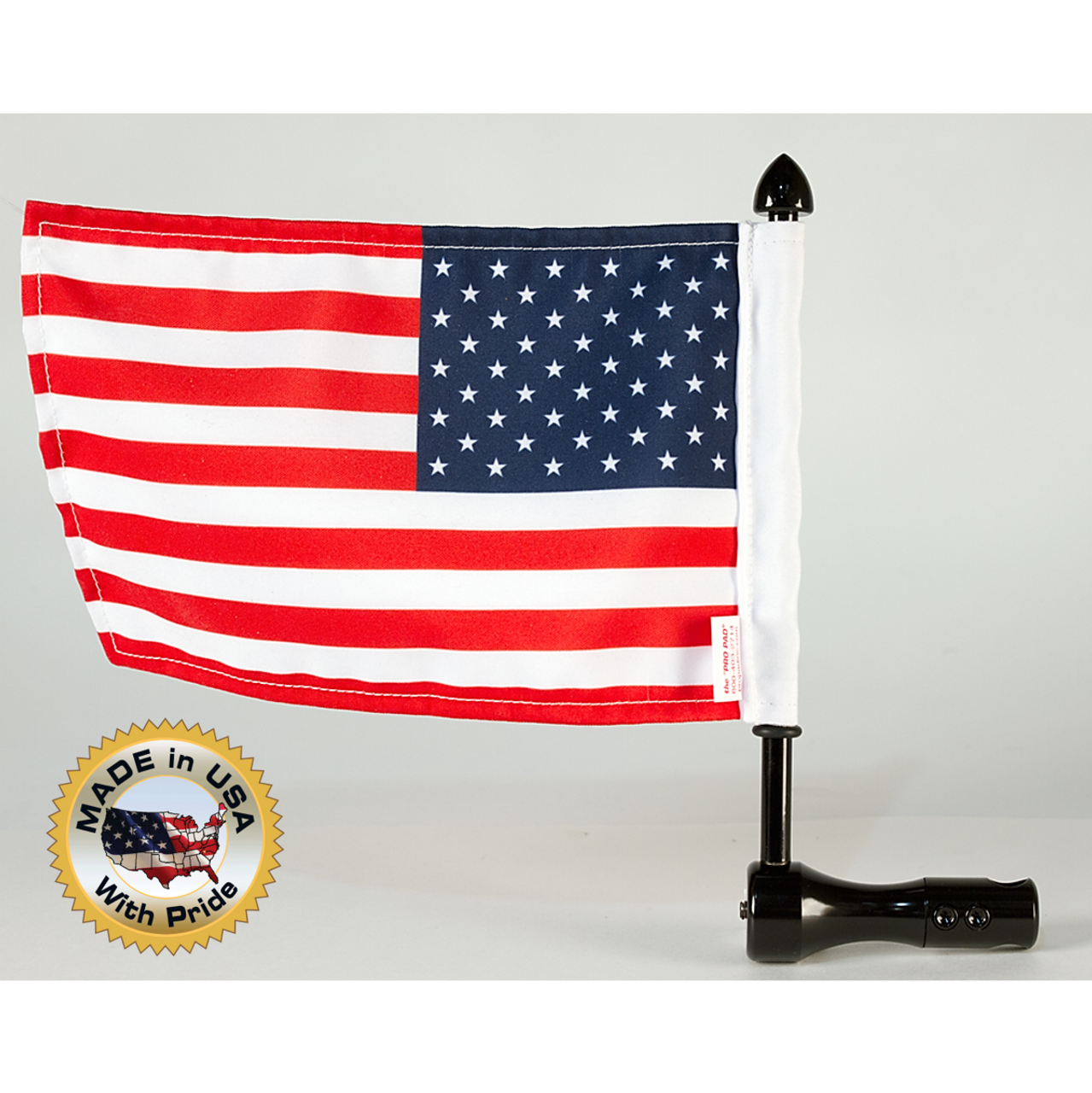 "Black 1/2"" vertical fit Air Wing rack flag mount with 9"" pole, standard cone topper and 6""x9"" USA flag (assembled) with Made in USA"