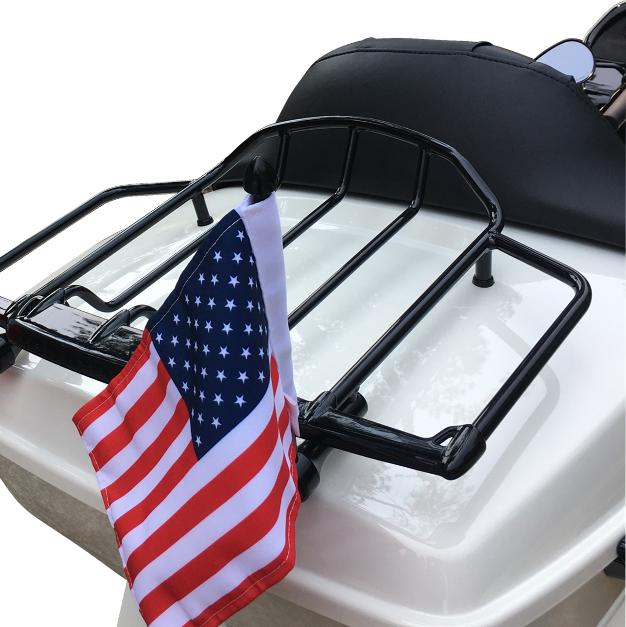 "1/2"" vertical fit flag mount with 9"" pole, standard cone topper and 6""x9"" USA flag on Harley Air Wing Rack mounting leg (rack not included)"