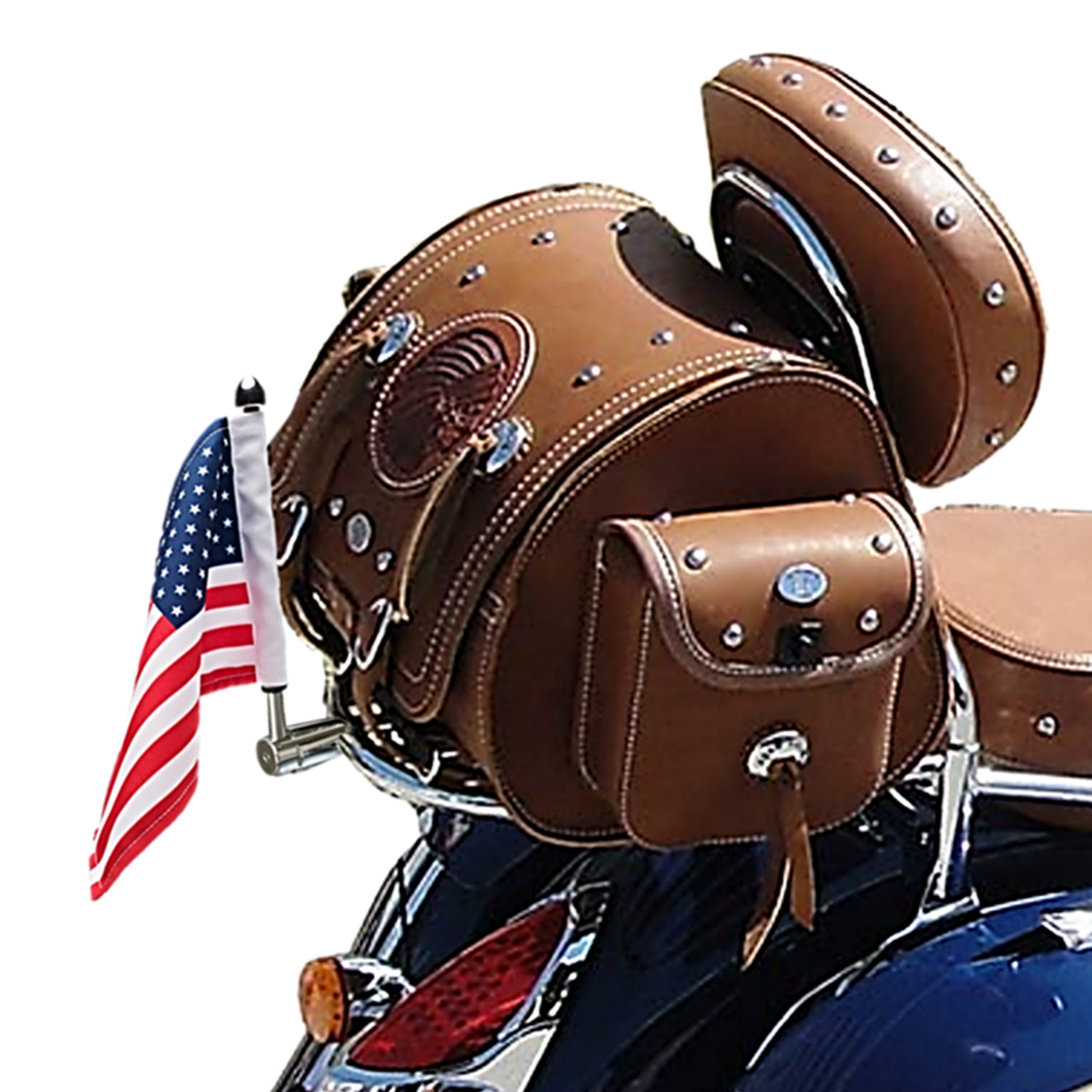 ".765"" Fixed, extended horizontal mount with 9"" pole, standard cone topper and 6""x9"" USA flag on quick detach Indian Chieftain sissy bar luggage rack (shown in polished stainless; rack not included)"