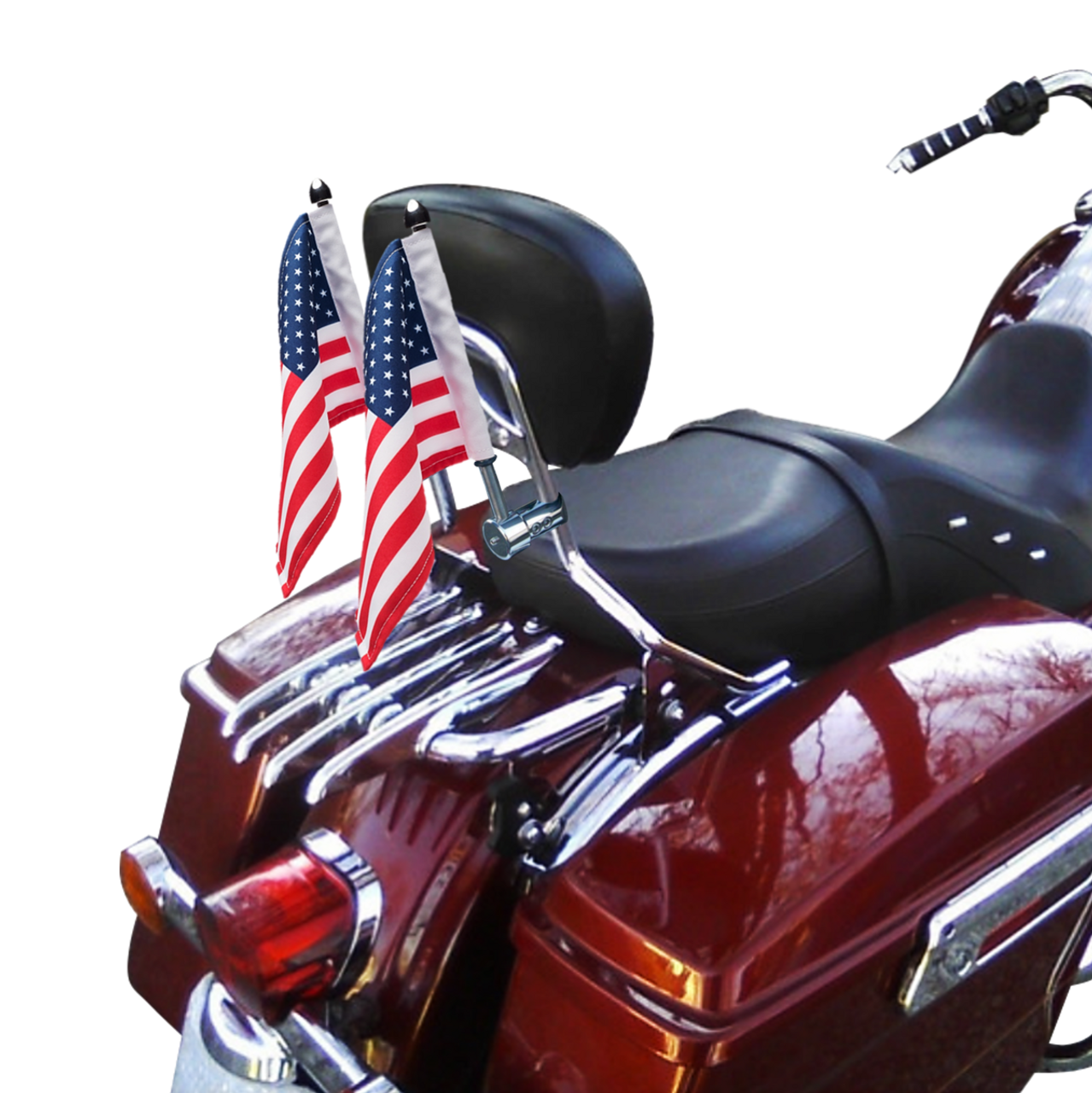 "5/8"" extended sissy bar flag mounts with 9"" pole, standard cone topper and 6""x9"" USA flag on Harley sissy bar (polished stainless version; listing is for 1 mount)"