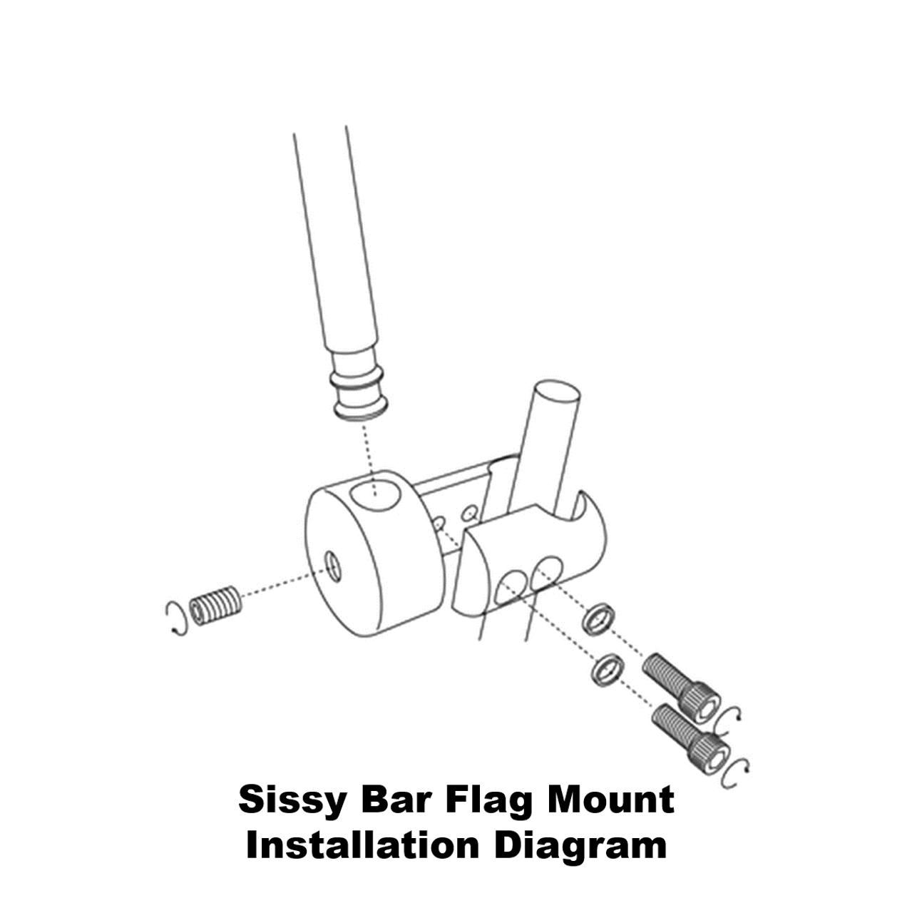 RDSB Sissy Bar Flag Mount Installation Diagram (exploded view)